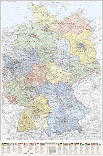 J.Bauer Karten Deutschland-Karte politisch (Bundesländer), Poster 80 x 120 cm