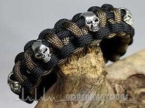 Adrenalintours Bracelet en paracorde 550 avec têtes de mort style pirate Noir/olive Taille L