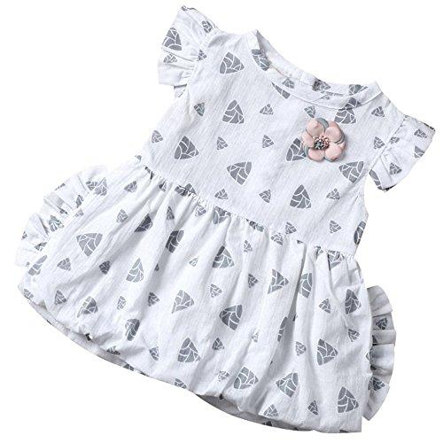 WOCACHI 0-24 Monate Baby Mädchen Toddler Kids Blumen gedruckt Casual Cute Outfits Kleider (Age:18-24M, Weiß)