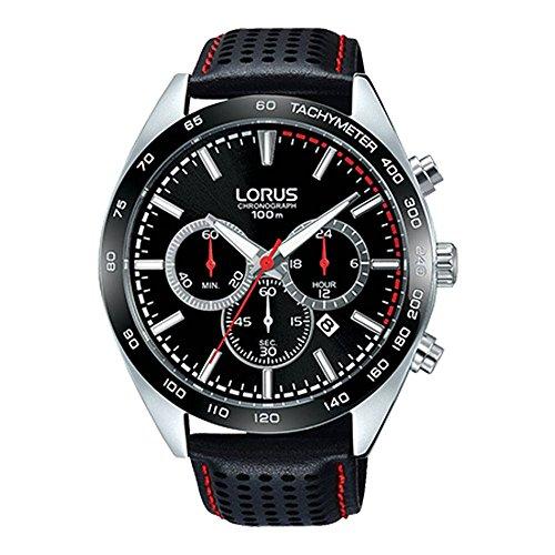 Lorus Mens schwarzes Leder Chronograph RT307GX9