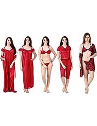 Freely Women's Satin 6 Pcs. Nighty set with 3 pcs robe set - Pack of 9