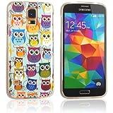 tinxi® Süß Design Schutzhülle für Samsung Galaxy S5/S5 Neo Hülle TPU Silikon Rückschale Schutz Hülle Silicon Case viele bunte Eulen Owl Uhu Kauz Muster