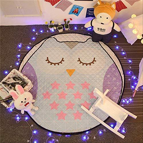 LZBDKM Teppich Wohnkultur Kinderzimmer Teppich Runde 150 * 150 cm Fox Babyspielmatte Patchwork Picknickdecke 150 von 150 cm große Eule