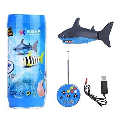 Maquette Requin Jouet à Télécommande Mini Bateau Jouet de Poissons RC avec Câble USB Cadeaux idéal pour Enfants de Plus de 4 Ans