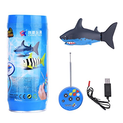 Dilwe Mini RC Fisch, Fernbedienung Elektrische Shark Kinder Wasserspielzeug mit USB Kabel