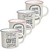 matches21 Becher Tassen Kaffeetassen Emaille-Optik Emailoptik & Kaffeedekor rot/blau 4er Set Porzellan 9 cm / 300 ml