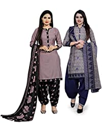 Rajnandini Women's Dusty Pink and Grey Cotton Printed Unstitched Salwar Suit Material (Combo Of 2) (Free Size)