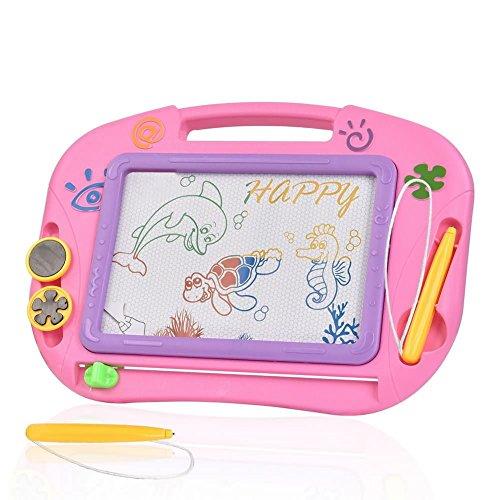Zaubertafel Kinder TTMOW Maltafel für Kinder ab 2 ab 3 mit Magnetische Stempel Lerntafel Reißbrett Kindergeschenk (Rosa) (Spielzeug-box, 1-jährige Für)