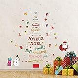 Walplus Joyeux Décorations de Noël Cadeau Français Citation Sapin de Noël Autocollant Mural Père Noël Mur Murales Décalques Salle à Manger Crèche Enfants Décor à la Maison