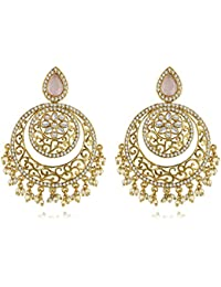 Spargz Indian Ethnic Bollywood Wedding Gold Plated AD Stone With Pearl Earring AIER 950