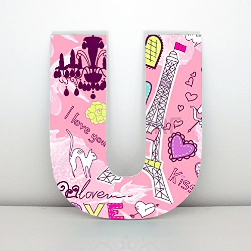 Letras decorativas U con imagen inspirada en París, estilo vintage. Altura 30 cms