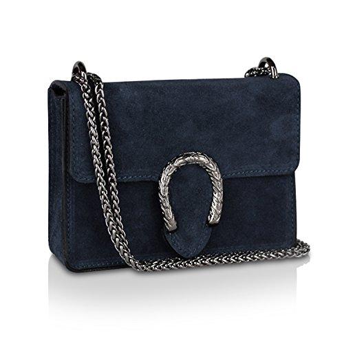 Gloop Damen Clutch echt Leder Tasche Abendtasche mit Kette Handtasche Made in Italy Blau