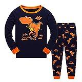 Tkiames Jungen Pyjama für Jungen, LKW, Dinosaurier, Kinder-Pjs mit Langen Ärmeln Gr. 2-3 Jahre, Orange