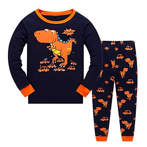 Tkiames Jungen Pyjama für Jungen, LKW, Dinosaurier, Kinder-Pjs mit Langen Ärmeln Gr. 5-6 Jahre, Orange