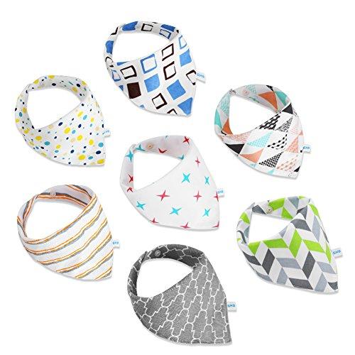 GHB Baby Dreieckstuch Lätzchen Halstuch 7er Pack mit unterschiedlichen Muster Unisex Spucktuch mit Druckknöpfen MEHRWEG
