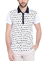 Dream Of Glory Inc Men's Cotton Half Sleeves 3 Buttons Printed Polo Tshirts With Buttoned Down Collar And Plus...