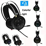 PC Gaming Kopfhörer  7.1 Audio Wired USB Headset Metallisches Surround Sound  Noise Reduction Headphone  Mit Mikrofon  Mit Buntes LED-Licht  für Laptop Tablets usw PS4 Xbox (Schwarz)
