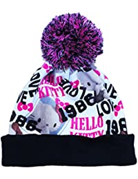 e561d0bb660 Girls Hello Kitty Beanie Slogan Bobble Hat Hello Kitty All Over Print  Design Age 3-