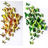 UWILD 3D Schmetterling wandaufkleber 3D Wandtattoo Wand Aufkleber Wandsticker Schmetterling Aufkleber Schmetterlinge im 3D-Style Wanddekoration mit Klebepunkten zur Fixierung (Klebepunkten+ Magnet) (12 Grün+12 Gelb)