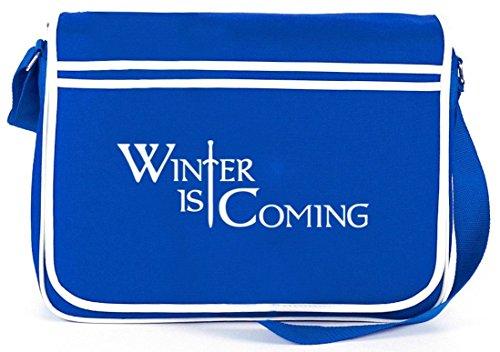 Shirtstreet24, Inverno Inverno Sta Arrivando, Borsa A Tracolla Retro Messenger Borsa A Tracolla Blu Royal