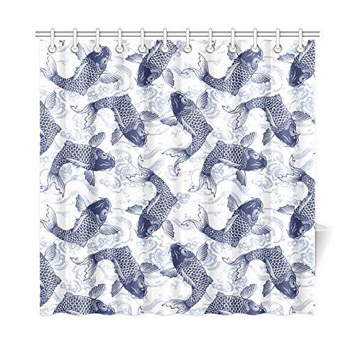 (JEOLVP Home Decor Bad Vorhang Ziemlich Karpfen Schwimmen Auf Sea Waves Polyester Stoff Wasserdicht Duschvorhang Für Badezimmer, 72 X 72 Zoll Duschvorhänge Haken Enthalten)