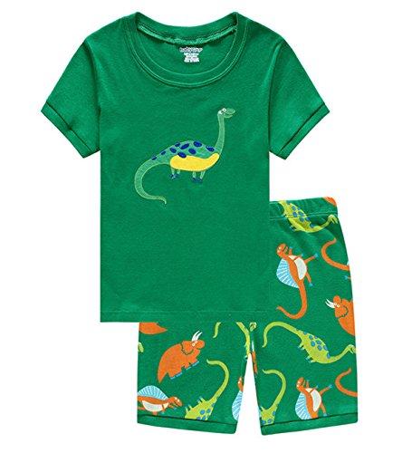 Taiycyxgan Dinosaurier Jungen Zweiteiliger Baumwolle Schlafanzug Anzug kurz Gr¨¹n 100 (Dinosaurier-kurz-schlafanzug)