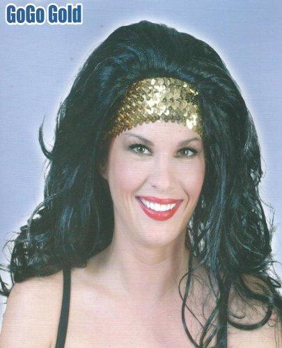 Lang-Haar-Perücke schwarz mit Stirnschmuck für Motto Party Fasching -