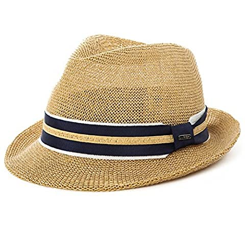 SIGGI Herren Sonnenhut Strohhut Panama Fedora Tribly Hut Kurze Krempe