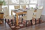 6 x Stühle Chesterfield creme dunkle Beine Stuhlset design Esszimmer massivholz