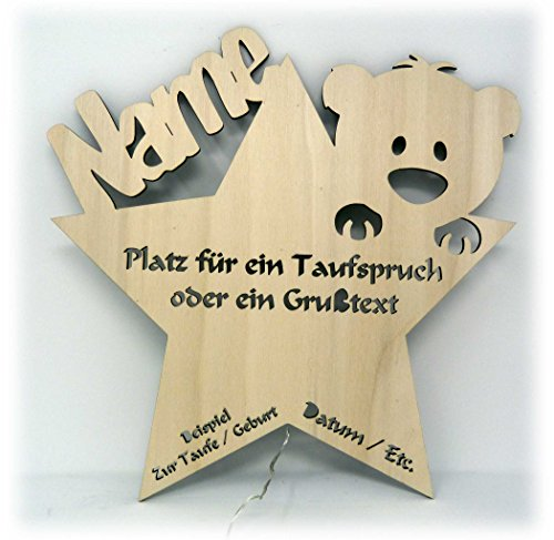 schlummerlicht24 led nachtlicht baby lampe teddy stern baby geschenke zur taufe mit namen tauf. Black Bedroom Furniture Sets. Home Design Ideas