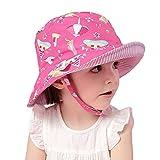 Arcweg Cappello di Protezione Solare Bambino 50+ UPF Tesa Larga Cappello da Sole per Bambini 100% Cotone Interno Bucket Hat con Sottogola 0-8 Anni Rosa Scuro 50cm