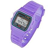Taffstyle Damen Herren Sportuhr Silikon Armbanduhr 80er Jahre mit Alarm Datum Kalender Viereckig Vintage Retro Digital Uhr Lila