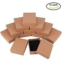 BENECREAT 12 Pack Small Size Kraft Rectangle Cajas de joyeria de carton para conjunto de joyas, 3.5 por 2.7 por 1 pulgada, marron