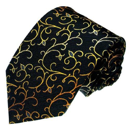 LORENZO CANA Designer Krawatte aus 100% Seide Handgefertigt nach italienischer Tradition - Schwarzblau Gold Ranken 84172