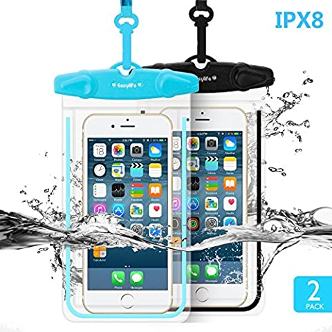 [2 Pack] Wasserdichte Hülle Easylife IPX8 Handyhülle,Certified Universal Dry Bag/