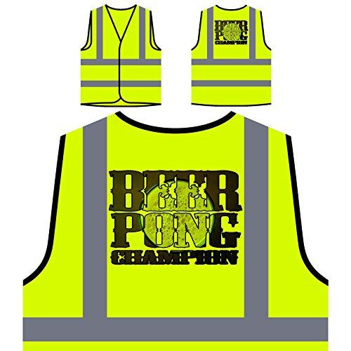 Bier Pong Champion Personalisierte High Visibility Gelbe Sicherheitsjacke Weste r952v -