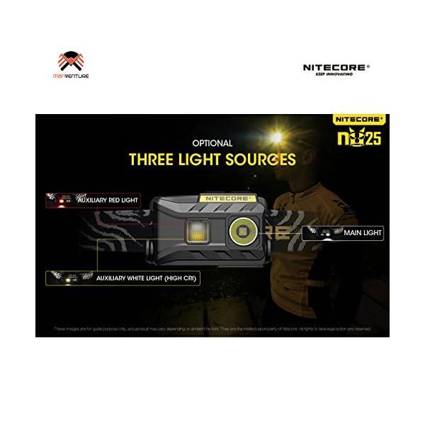 Nitecore NU25 Head Torch USB Rechargeable Triple Output Headlamp 360 Lumen CREE XP-G2 S3 LED 10 Brightness Modes IP66 Waterproof 28 Grams Headtorch Ideal for Camping, Fishing, Running, Biking, EDCFzL