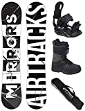 Sportartikel:AIRTRACKS SNOWBOARD SET - WIDE BOARD MIRRORS WIDE 157 - SOFTBINDUNG STAR - SOFTBOOTS MASTER QL 43 - SB BAG