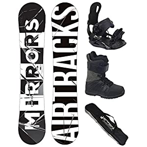 Airtracks Snowboard Komplett Set – Mirrors Wide + Snowboard Bindung Star + Snowboardboots + Sb Bag / 150 152 157 159 162 cm