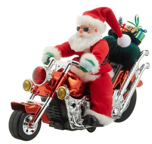 Hellum 599923 Nikolaus auf Motorrad, singt und bewegt sich mit Motorengeräusche, batteriebetrieben