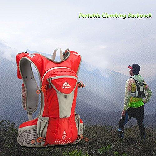 Lixada 12L Sports Rucksack/Schultergürteltasche mit 2L Trinkblase und Rettungsdecke Orange