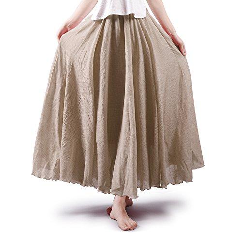 Damen Rock Bohemia Taille elastisch Freizeit aus Baumwolle Kleid Beige 95CM Länge (Cord-knie-länge Rock)
