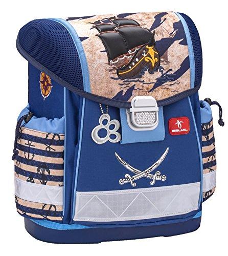 Belmil Ergonomischer Schulranzen Jungen 1. klasse 2. klasse 3. klasse - Super Leichte 900-960 g/Grundschule/Pirat, Piraten, Pirates/Blau (403-13 Mud Caribbean Pirates)