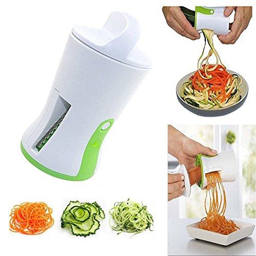 Cortador de Verduras - Cortador en espiral Vegetal Cortador de Verduras de Mano, Zucchini Pasta fideos espagueti Maker, con un cepillo de limpieza para el regalo, color Blanco