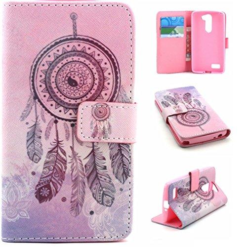 LG Bello D331 Fundas Cover,Book Cover Flip Case Funda de Cuero de Piel con Función de Soporte para LG L Bello D331 D335-Carillones de viento de color de rosa