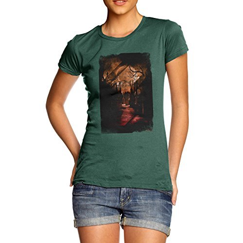 TWISTED ENVY Damen T-Shirt Haunted Halloween Graveyard Print Medium flaschengrün (Halloween Graveyard Haunted)