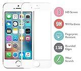 DolDer Apple iPhone SE/5S/5/5C Full Cover Panzerglas, Gehartetem Glas Folie Schutzfolie Displayschutzfolie,9H*2.5D Round Edge aus echtem Glas - Displayschutz - ,Screen Protector aus Glas - kratzfest und extrem widerstandsfahig - nur 0.3mm Weiss