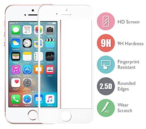 DolDer Apple iPhone SE/5S/5/5C Full Cover Panzerglas, Gehartetem Glas Folie Schutzfolie Displayschutzfolie,9H*2.5D Round Edge aus echtem Glas - Displayschutz - ,Screen Protector aus Glas - kratzfest und extrem widerstandsfahig - nur 0.3mm Weiss (Screen I 5 Für Phone Cover Glas)