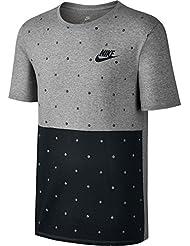 Nike M NSW Polka Dot Camiseta, Hombre, Gris (Dark Grey Heather / Black), S
