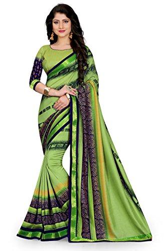 Oomph! Women's Printed Linen Silk Blend Sarees - Pear Green